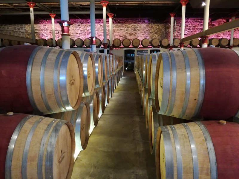 Barrels of wine at Chateau Tanunda