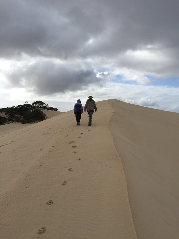 Walking the Little Sahara sand dunes