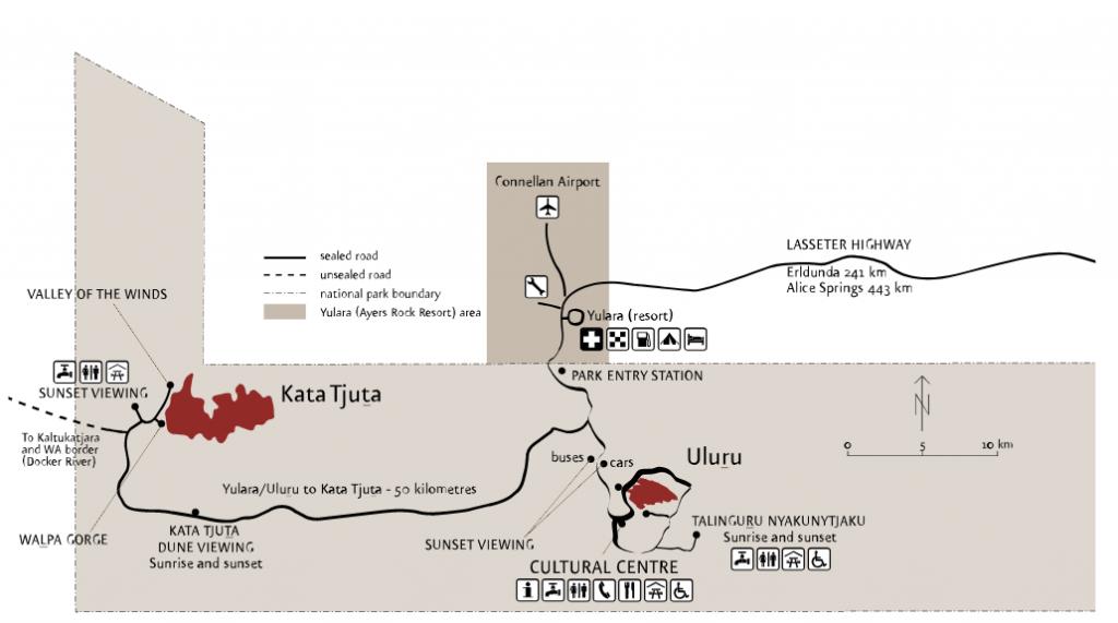 location map between uluru, yulara and kata tjuta