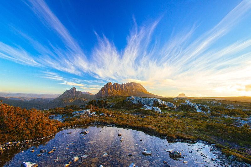 view of the cradle mountains in tasmania
