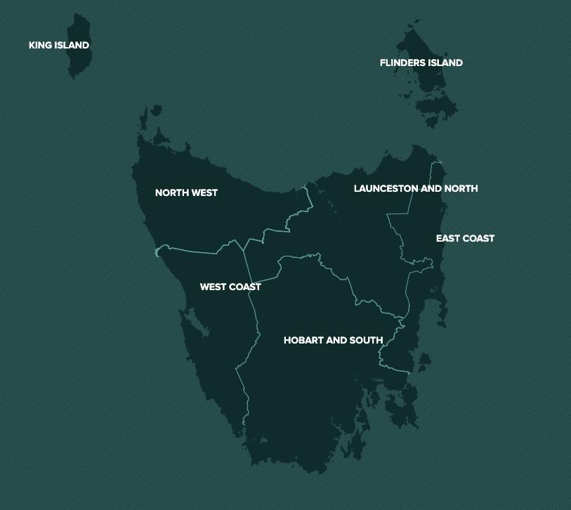 overview map tasmania with key regions