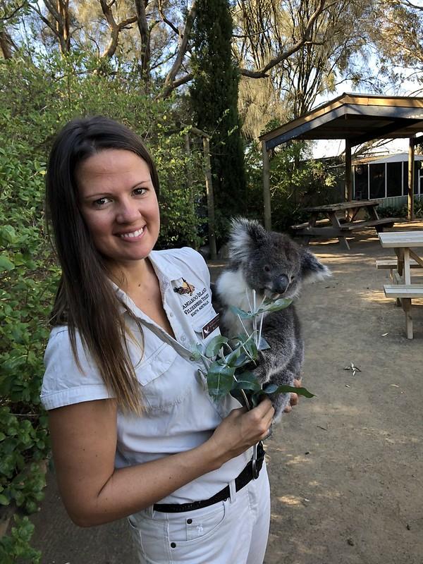 Kangaroo Island Wilderness Guide Becky with Koala